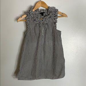 J crew stripe cotton sleeveless w ruffle detail